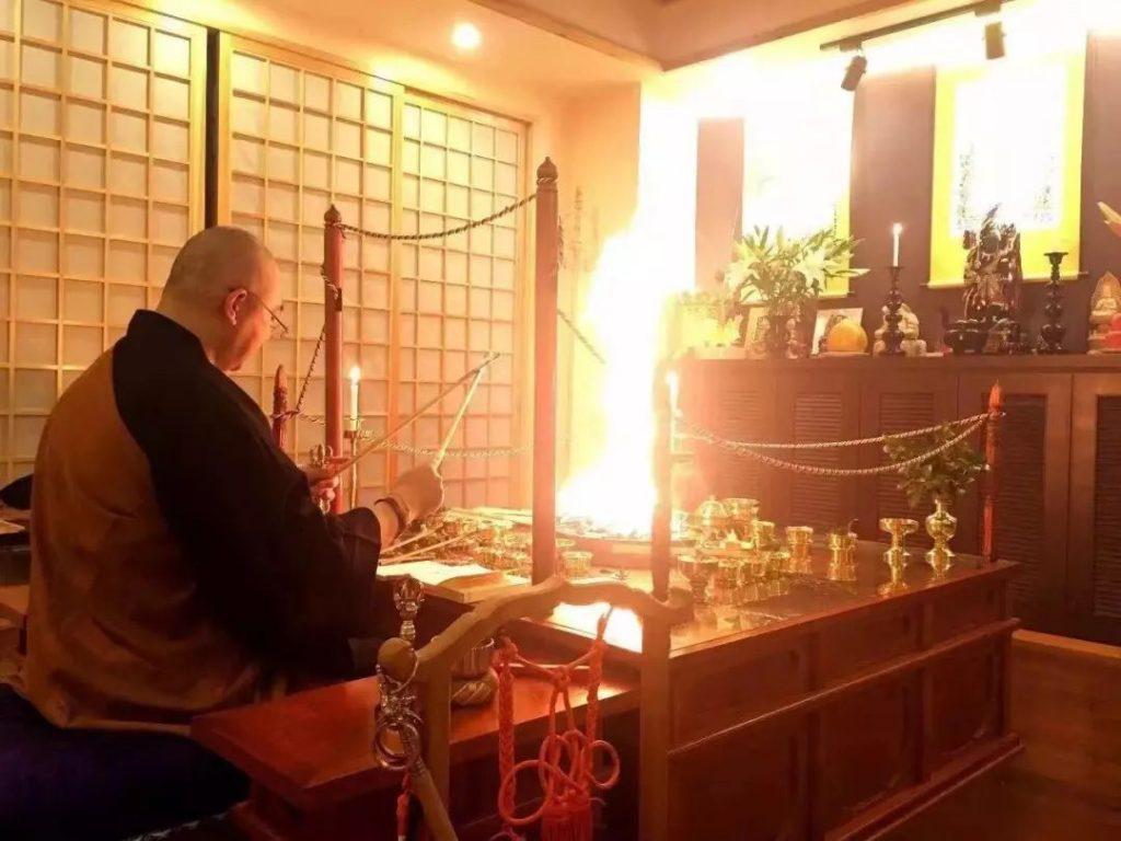 """京都一乘院长期修""""不动明王护摩供""""祈福通告"""